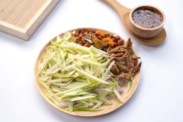 Ingredients Thai food, spicy mangoes salad