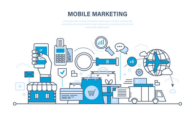 Mobile marketing, analysis and statistics, online shopping, management.