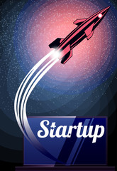 Rocket launch as metaphor startup. Rocket fly at yhe stars space. Vector image.