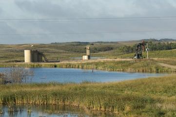 Oil Well by a North Dakota Wetland