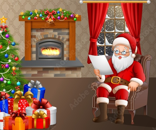 quot santa claus reading a list of gifts in the living room