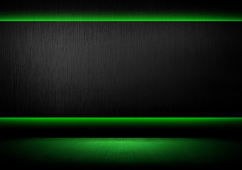 metal template with green light background