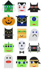 A set of 15 modern cartoon style cute characters for Halloween: vampire, witch, monster, zombie, mummy, bat, cat, pirat, devil, frankenstein, ghost, mask, owl, pumpkin, skull, spider.