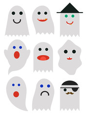 Set of cute cartoon Halloween Ghosts, Halloween night, Ghost silhouette for your design isolated on background. Ghosts emoticon halloween set..