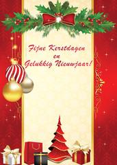 Kerst wenskaartje. Fijne Kerstdagen en Gelukkig Nieuwjaar! - winter kaartje. Print kleuren gebruikt. Ze heeft de grootte van een postkaart