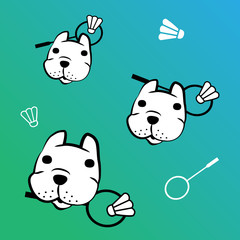 french bulldog vector with badminton
