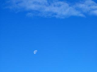 Bleu, ciel, nuage, lune