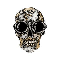 Steam punk color mechanical skull on  white background