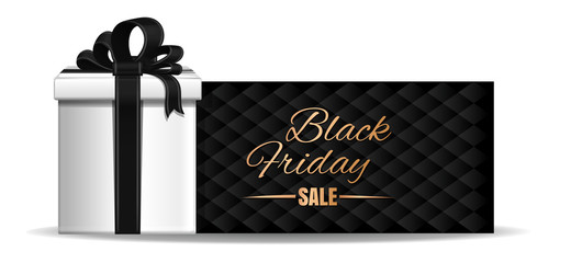 Black Friday banner design. Gift box with ribbon and bow on the black background of a greeting card.  Vector illustration