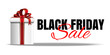 Black Friday banner design. Gift box with red ribbon and bow on the white background. Vector illustration