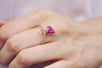 Beautiful luxury ring with gem stone