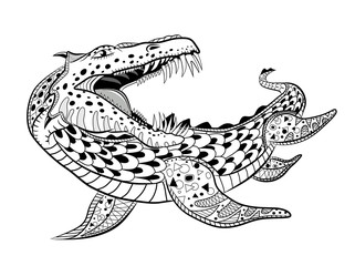 Underwater reptile monster. Antistress Coloring Book for adults