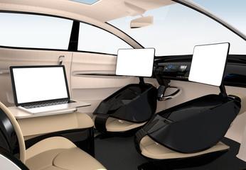 Autonomous car interior design. The monitors have empty copy space. 3D rendering image.
