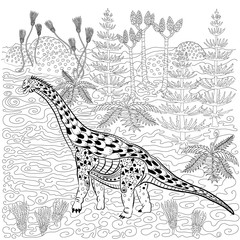 Diplodocus in nature. Antistress Coloring Book for adults