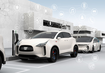 Connected cars and autonomous cars concept. 3D rendering image.