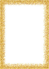 Golden glitter frame a4 format size. Glittering sparkle frame on white vector background.