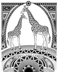 Stylized vector giraffe, zentangle isolated on white background
