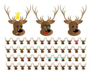Vector illustrated cartoon face set of a Deer