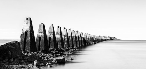 Ruins of the Second World War sea fortification at Crammond near