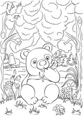 Funny cartoon panda with flower in the wild forest.