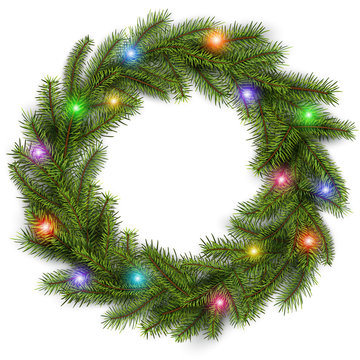 Christmas wreath with colorful lights
