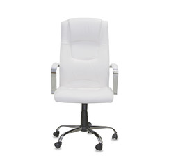 Office chair from white leather isolated