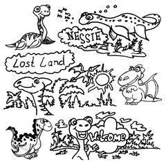 Set of funny cartoon dinosaurs hand-drawn doodle