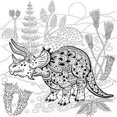 Triceratops  in nature. Antistress Coloring Book for adults