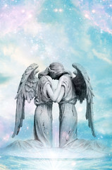 Wall Mural - two angels with rays of light