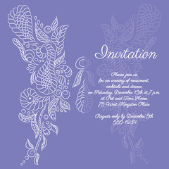 Vector invitation. White butterfly pattern.