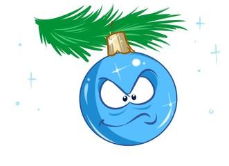 Christmas ball ornament angry cartoon illustration isolated image character