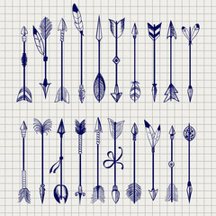 Ball pen arrows set vector on notebook page