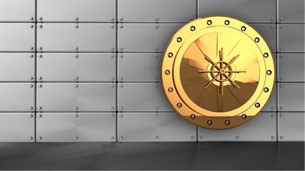 3d illustration of golden vault door over steel panels background