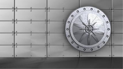 3d illustration of steel vault door over steel panels background
