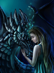 Magic illustration - the Girl and the Dragon