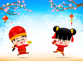 Chinese boy and chinese girl cartoon have smile and jumping with