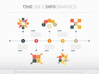 Timeline vector infographic with diagrams and text. Can be used