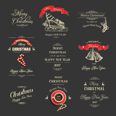 Christmas set with congratulatory inscriptions with symbols on black. Hand-drawn, sketch. Merry Christmas and Happy New Year. Vector collection