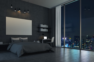 Bedroom with panoramic window and cityscape