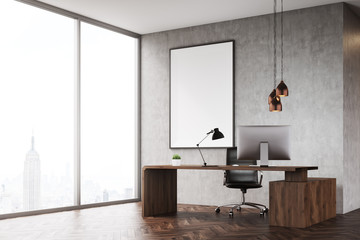 Side view of CEO office with panoramic window and poster
