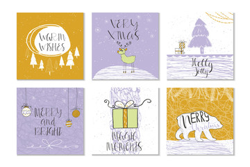 Merry Christmas and Happy new year set of 6 cards. Unique lettering. Vector illustration
