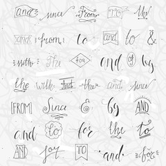 Collection of hand sketched ampersands and catchwords for your design. And, with, for, from, since, the, to, by. Decorative elements. Retro elements with swirls. Hand drawn lettering.