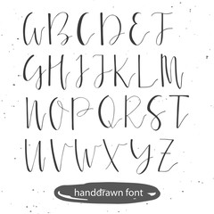Unique hand drawn font. Vector illustration