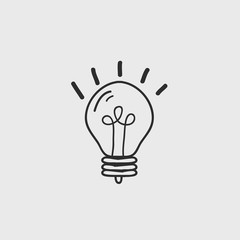 Bulb Hand Drawn Doodle Icon, vector illustrator