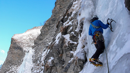 ice climbing in the Swiss Alps