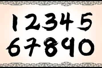 chinese style calligraphy numbers