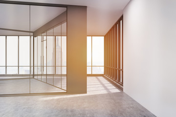 Empty office with glass and white concrete walls, toned
