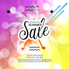 Summer sale greeting card advertisement, banner, poster, placard, party invitation, flyer design, vector illustrator
