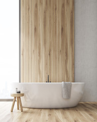 Front view of a bathroom with a tub and a wooden wall