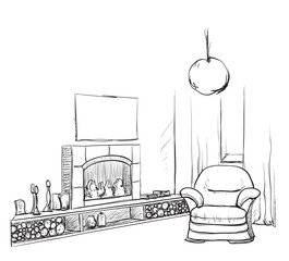 Modern interior room sketch. Hand drawn fireplace.